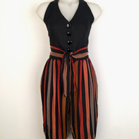 Vintage 1970s 'Julie Dawn' high waisted striped knickerbockers with elastic cuffs and tie waist