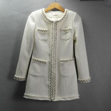 Trendy White tweed jacket and long sections Autumn / Winter long-sleeved jacket small fragrant wind windbreaker coat Heavy beaded coat AT_94_13