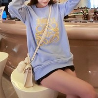 """Loewe"" Women Fashion Chair Letter Pattern Print Gradient Color Long Sleeve Casual T-shirt Top Tee"