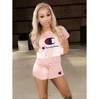 Champion Classic Popular Women Casual Print Short Sleeve Top Shorts Set Two-Piece Sportswear Pink