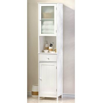 White Lacquered Tall Storage Cabinet