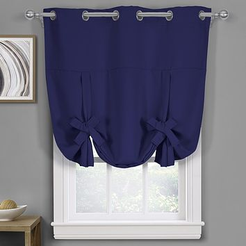 """Navy Ava Blackout Weave Curtains Grommet Tie Up Shade for Small Window ( 46"""" W X 63"""" L)"""