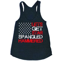 Lets Get Star Spangled Hammered Womens Triblend Tank Top