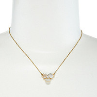 kate spade new york Disco Pansy Mini Pendant Necklace - Cream/Clear