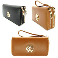 Double Zipper Long Wallet Clutch Wristlet Card Coin Holder PU Leather Gold Metal