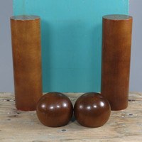 Mid Century Wooden Salt & Pepper Shakers • Tall and Round + Wooden Ball Shakers • 2 Pairs Modern Minimalist Design