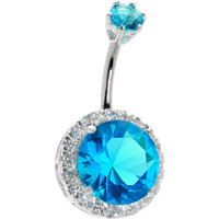 Sterling Silver 925 Passion Aqua Cubic Zirconia JEZEBEL Belly Ring | Body Candy Body Jewelry