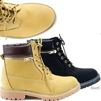 Women's Ankle Boots Lace Up Faux Combat Military Boot Style Faux Leather New
