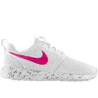Nike Roshe Run Women White with Custom Pink Swoosh and Black Marbled Sole Paint