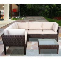 SAVE Infinity 6-Piece Wicker Seating Set Dark Brown