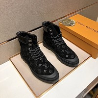 lv louis vuitton trending womens men leather side zip lace up ankle boots shoes high boots 173