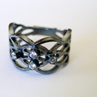 Oxidized Ring with Stone Silver Ring Handmade Oxidized Silver Ring Statement Ring
