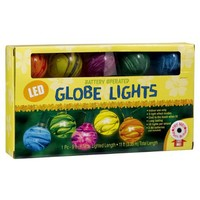Grasslands Road LED 9-Foot Multi Color Changing Globe Strand Indoor Patio Lights, Battery Operated