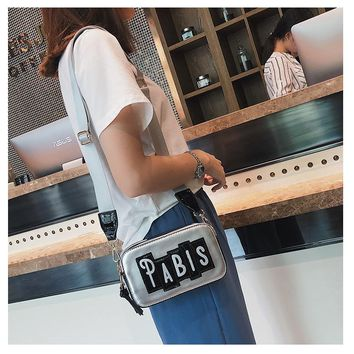 Summer  Female Multicolor Shoulder Bag  Messenger Bag Personality Letter Small Square Bag