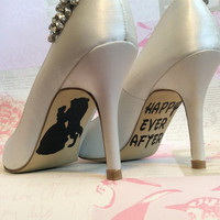 Disney wedding day shoe sole vinyl decals / stickers Beauty and the Beast Belle