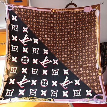 LV Louis Vuitton new printed letter stitching color scarf silk scarf Coffee&Black