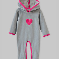 Light Gray & Pink Heart Velour Hooded Playsuit - Infant