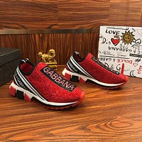 Dolce & Gabbana D&G Sorrento Sneakers With Rhinestones Red