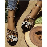 Summer sexy new leopard print flat shoes women sandals fashion slippers