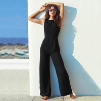 Casual Black Sleeveless Cut Out Back JumpSuit