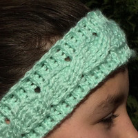 Cable Headband, Valentine's Day Gift, Earwarmer, Headband, Knit Headband, Mint Headband