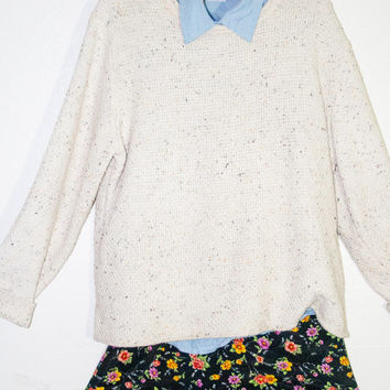 white mixed fiber vintage sweater, hipster outerwear layering sweater 90s 1990s fashion spring 2014
