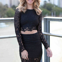 Black Full Sleeve Lace Crochet Crop Top and Skirt