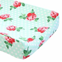 Retro Florals Lucy Aqua - Changing Pad Cover