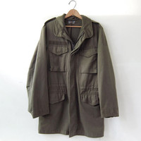 Vintage Army coat. Green Parka jacket. Grunge Punk. Austrian Army Coat.