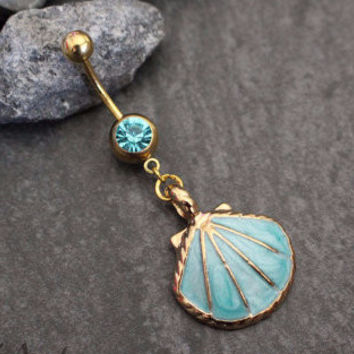Seashell Belly Ring in Sea Blue