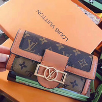 Louis Vuitton LV Classic Colorblock Letter Printing Long Wallet Clutch Bag