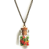Pressed flower glass vial pendant, Red, Green, Yellow dried wild flowers bottle necklace, Spring jewelry, Boho