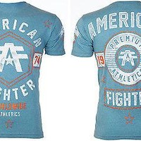 Licensed Official AMERICAN FIGHTER Mens T-Shirt JACKSONVILLE Athletic BLUE Biker Gym MMA UFC $40