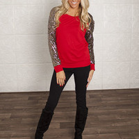 Sequins On My Sleeve Top Red/Black - Modern Vintage Boutique