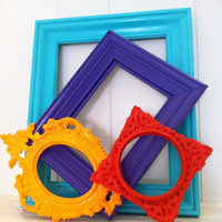 Ornate Empty Frame Collection Set, Bright and Chic, Upcycled Home Decor, Funky Vintage Style Frames