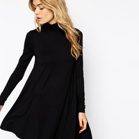 ASOS Swing Dress With Polo Neck and Long Sleeves