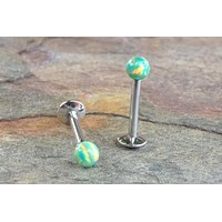 16G Green Opal Fire Opal Stud Cartilage Earring Internally Threaded Tragus Helix Monroe 16 Gauge Piercing