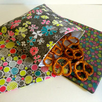 Gray and Neon Set of Reusable Snack Bags, Lunch Baggies and Sandwich Bags