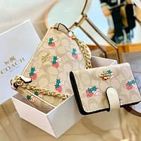 Alwayn COACH two-piece crescent bag + wallet with gift box Apricot