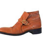 Men Ankle Boot 60s Boot Chukka Boot Men Boot Size 12 Hanover Shoe Monk Strap Caramel Leather 1960s Boot Retro Boot Men Shoe Size 12 Casual