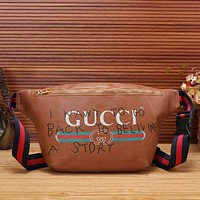Perfect Gucci Women Shopping Leather Purse Waist Bag Single-Shoulder Bag Crossbody