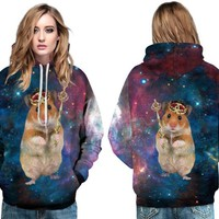 Lovely Brown Mouse Queen Hoody Hoodie Magic Hamster Skateboard Sweatshirt Autumn Jumper Pullover with Pocket Women's Tracksuits