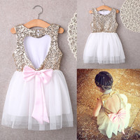 Sequins Princess Kids Baby Flower Girl Dress Bowknot Backless Party Gown Dresses
