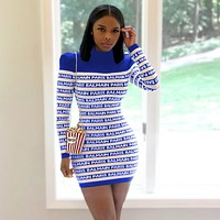BALMAIN Women High collar Long Sleeve Bodycon Dress Blue
