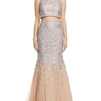Avery GEmbroidered Two-Piece Gown