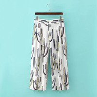 Summer Women's Fashion Print Chiffon High Rise Casual Pants Cropped Pants [4919974020]