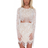 White Crochet Lace Long Sleeve Cropped Top and High Waist Midi Skirt