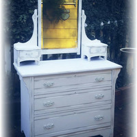 Distressed Antique Upcycled shabby chic, country cottage, french country, distressed white dresser with attached mirror! Chalk paint, waxed