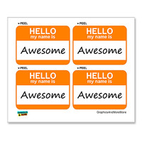 Awesome Hello My Name Is - Sheet of 4 Stickers