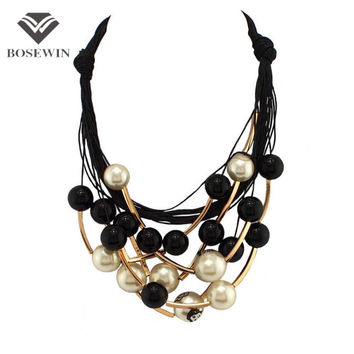 Star Graceful Jewelry Black Rope Through Pearls Beads Golden Tube Random Combination Choker Necklace For Women Dress CE1570